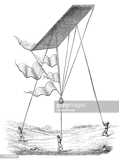 new type of kite being flown in south africa - 19th century - kite toy stock illustrations, clip art, cartoons, & icons