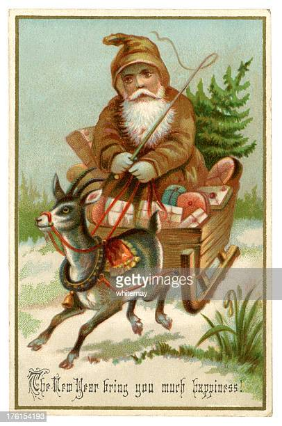 New Year card with Father Christmas, 1885