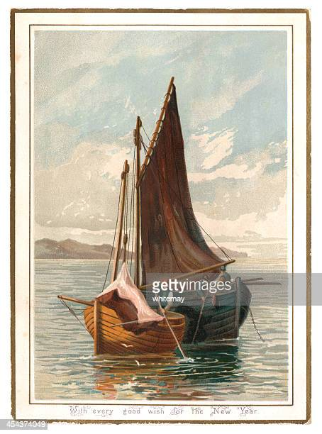 new year card with fishermen and sailing boats, 1882 - postcard stock illustrations, clip art, cartoons, & icons