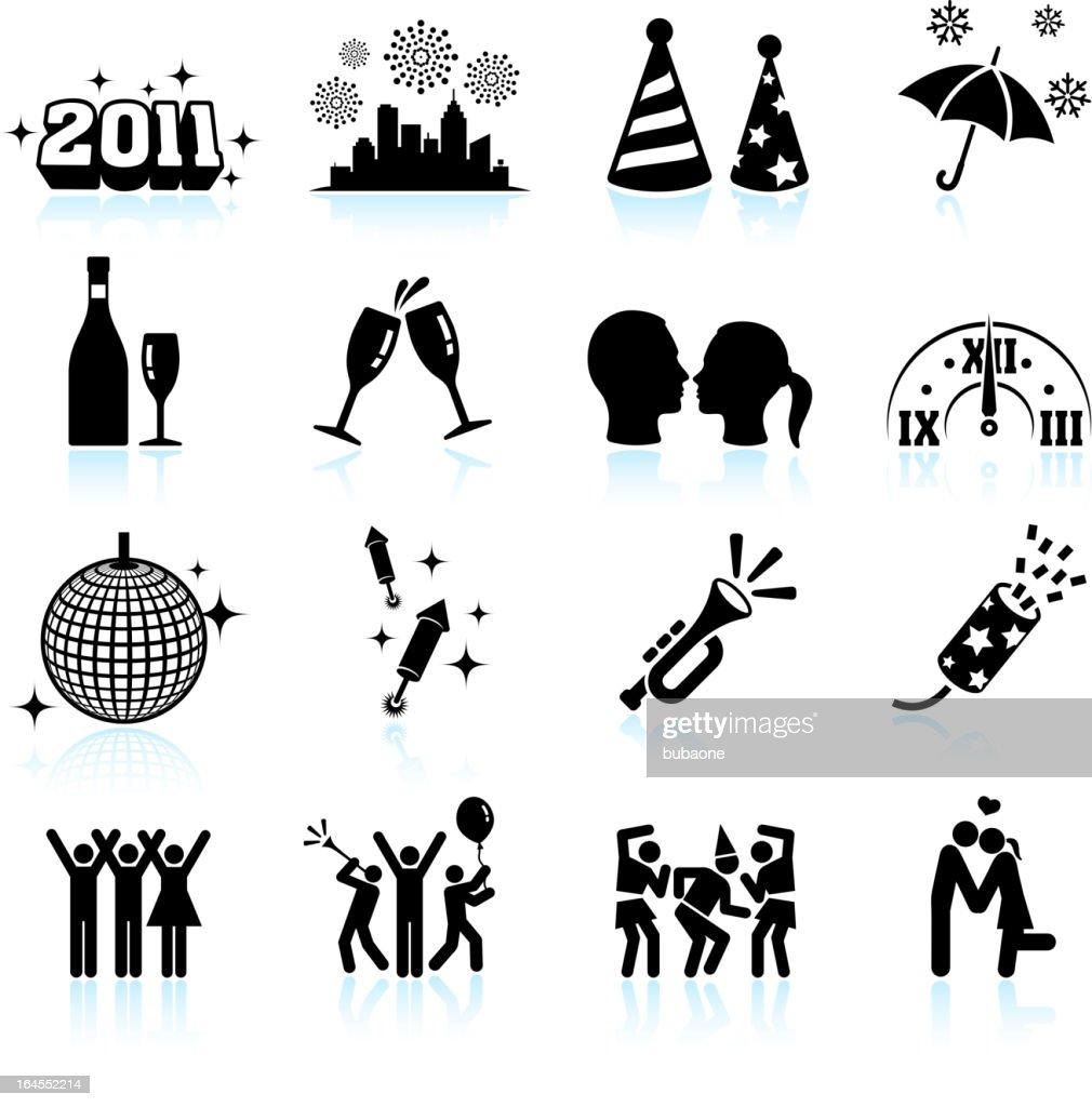 new year celebration black white vector icon set vector art