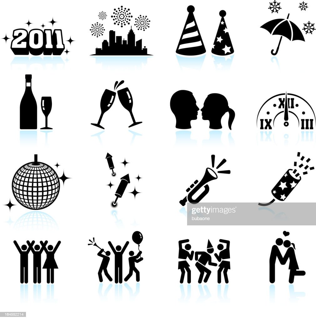 New Year celebration black & white vector icon set
