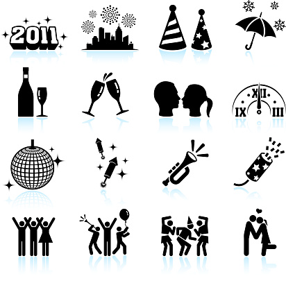 New Year celebration black & white vector icon set - gettyimageskorea
