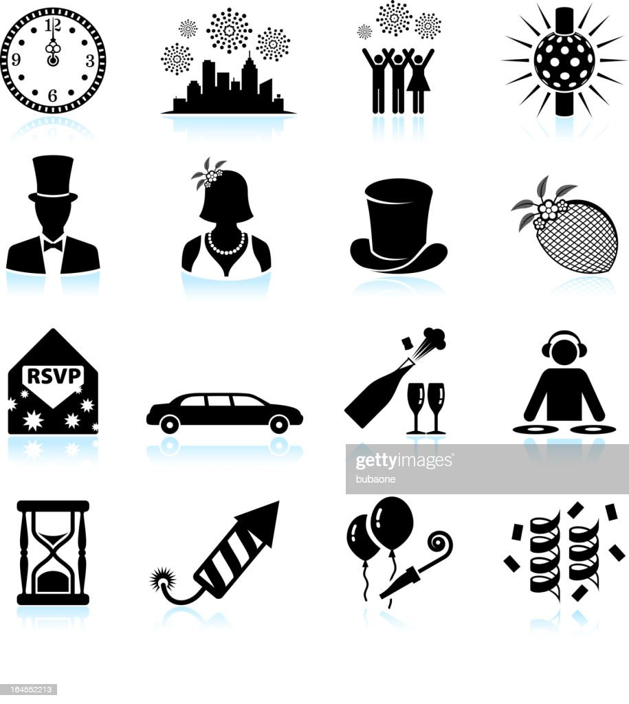 new year party celebration black white vector icon set vector art