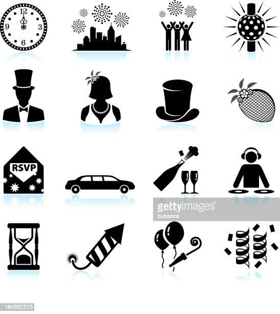 New Year party celebration black & white vector icon set