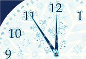 New year's clock background, vector
