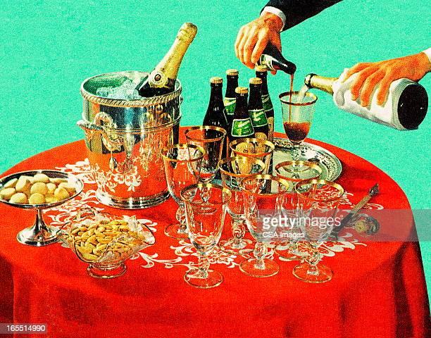 ilustraciones, imágenes clip art, dibujos animados e iconos de stock de fiesta de la víspera del año nuevo - cóctel bebida alcohólica