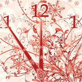 New year's floral clock background, vector