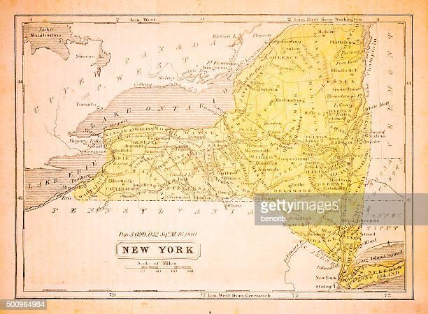 new york 1852 map - lake ontario stock illustrations, clip art, cartoons, & icons