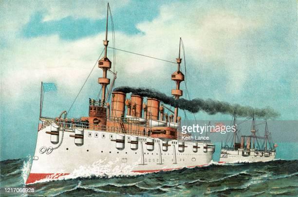 uss new york, armored steel cruiser - battleship stock illustrations