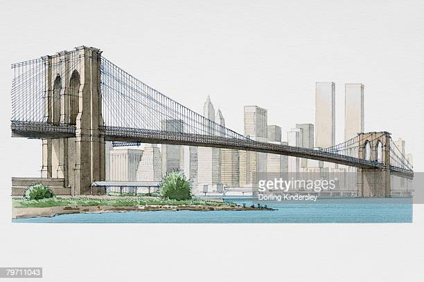 usa, new york, brooklyn bridge - brooklyn bridge stock illustrations, clip art, cartoons, & icons