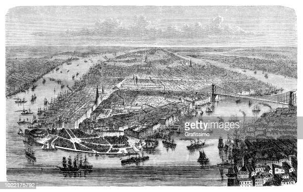 New York City aerial view of Manhattan Long Island along the Hudson River 1876