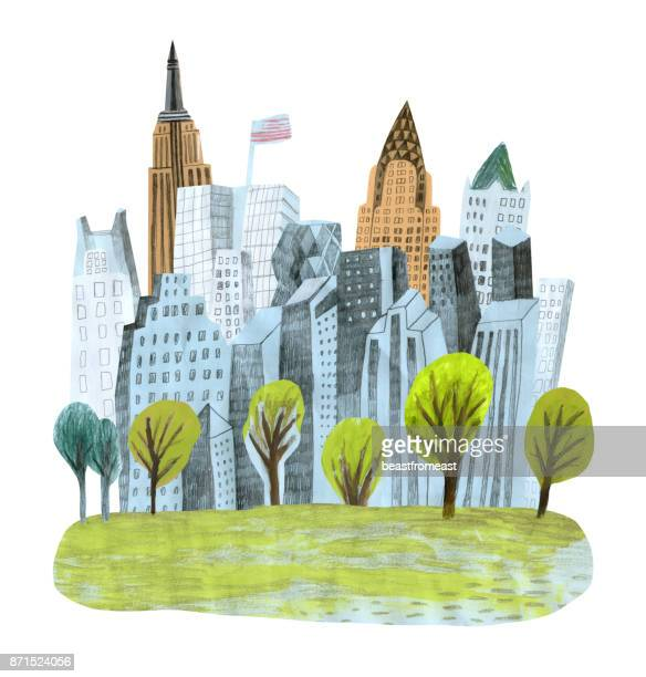 new york city and central park - chrysler building stock illustrations, clip art, cartoons, & icons