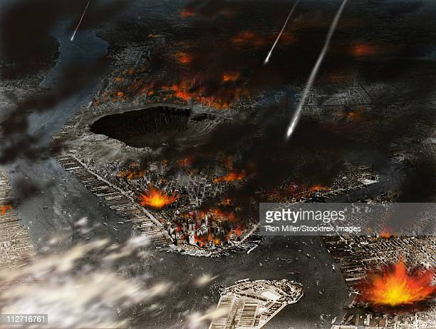 new york is being pummeled by meteors. already a crater the size of arizona's meteor crater has been blasted in the middle of manhattan. - meteor shower stock illustrations