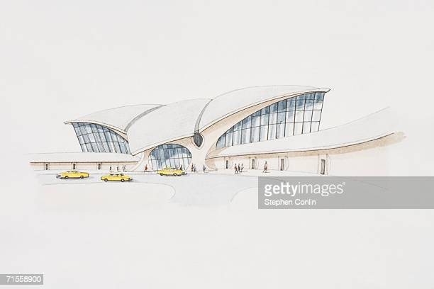 usa, new york, john f. kennedy airport, eero saarinen's twa passenger terminal. - jfk airport stock illustrations, clip art, cartoons, & icons