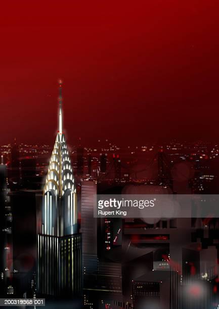 usa, new york, new york city, chrysler building, night (digital) - chrysler building stock illustrations, clip art, cartoons, & icons