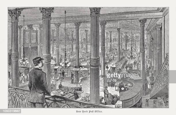 illustrations, cliparts, dessins animés et icônes de bureau de poste de new york dans le passé, gravure sur bois, 1885 publiés - facteur