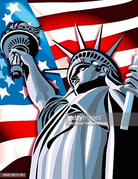 usa, new york, statue of liberty and american flag - liberty island stock illustrations, clip art, cartoons, & icons