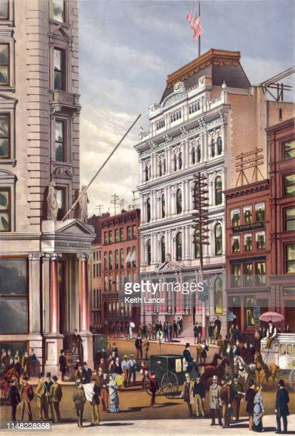 new york stock exchange, 1882 - wall street stock illustrations