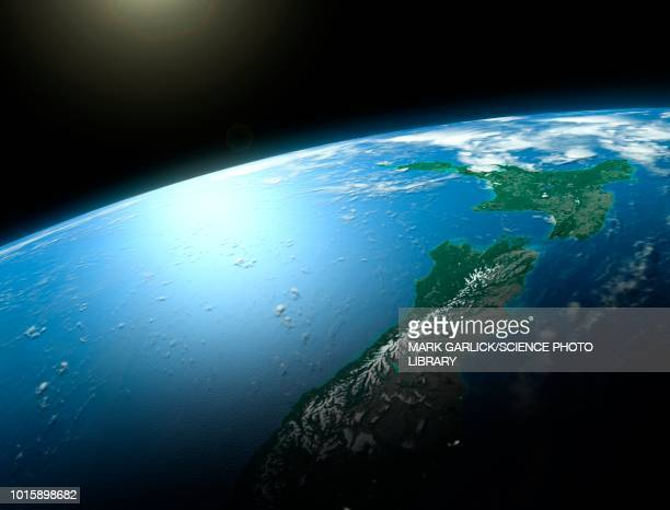 new zealand from space, illustration - planet space stock illustrations