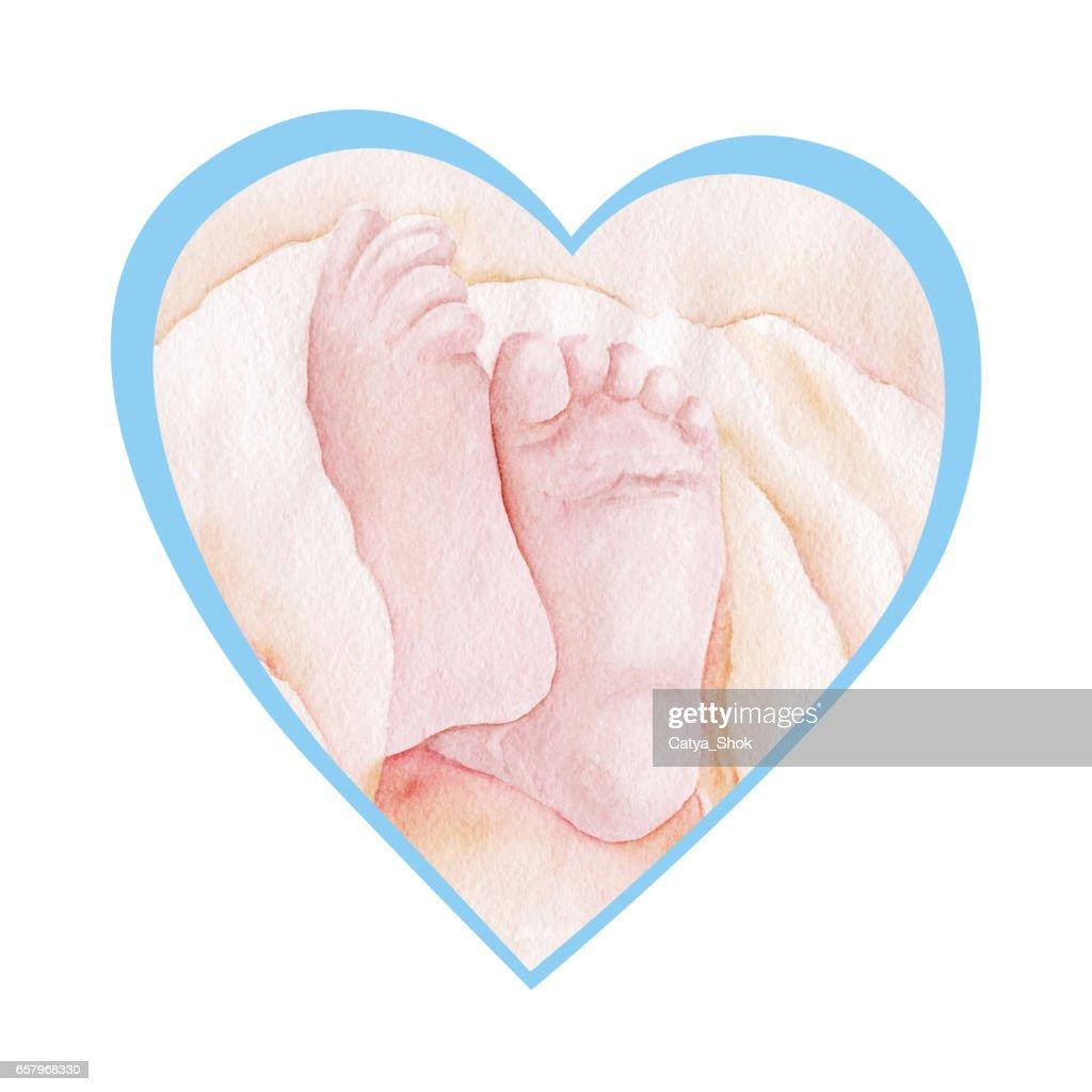 newborn baby feet in heart shape  watercolor illustration : stock  illustration