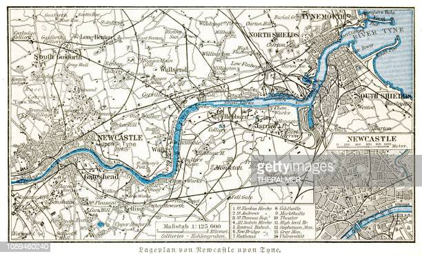 newcastle upon tyne city map 1895 - newcastle new south wales stock illustrations