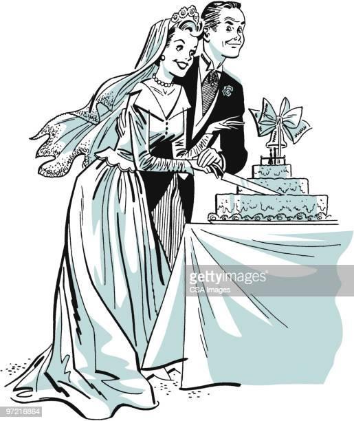 newlyweds - wedding cake stock illustrations