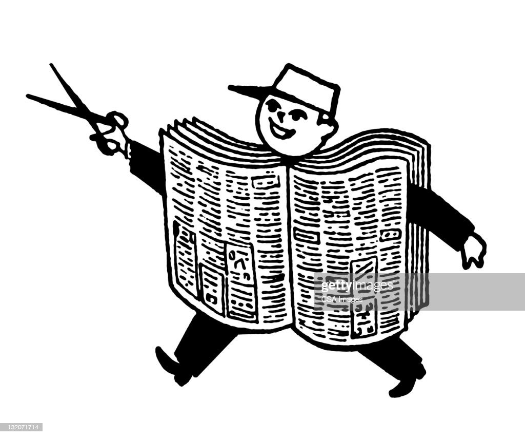 newspaper boy with scissors stock illustration | getty images