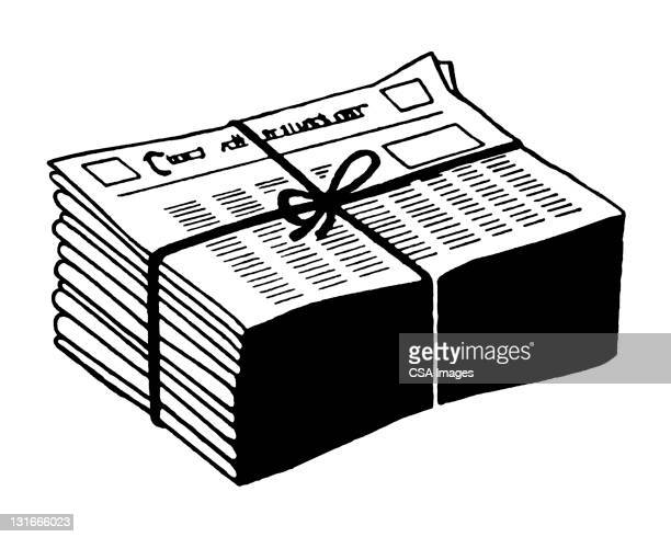 newspapers tied up - stack stock illustrations