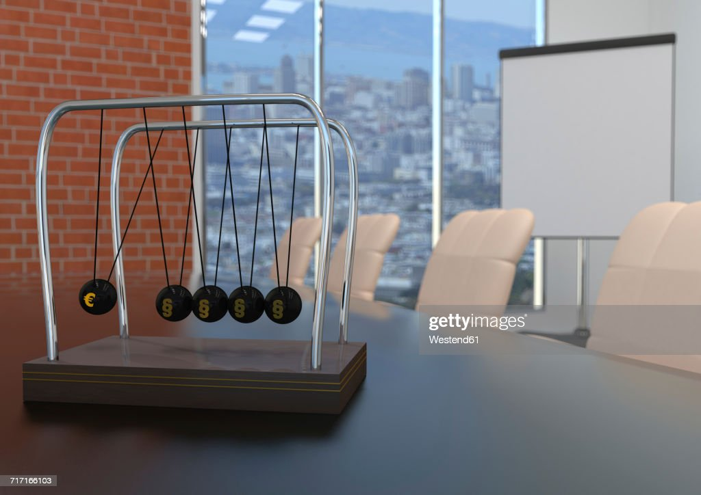 Newton's cradle with Euro symbol and paragraphs on conference table, 3d illustration : stock illustration