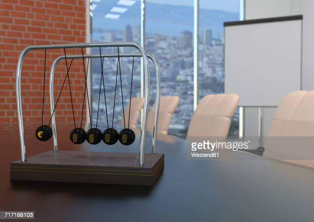 newton's cradle with euro symbol and paragraphs on conference table, 3d illustration - desk toy stock illustrations, clip art, cartoons, & icons