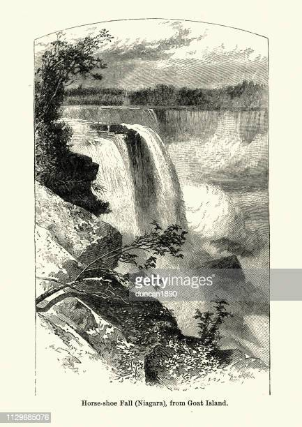 niagara falls from goat island, 19th century - niagara river stock illustrations