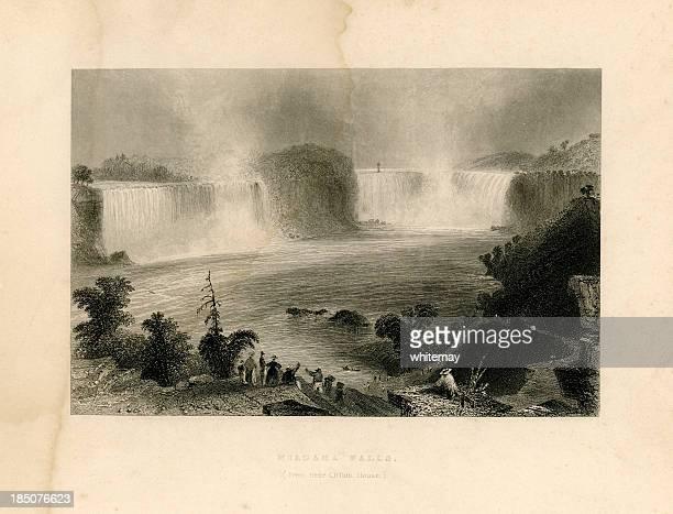 niagara falls from near clifton house (geo virtue 1839) - lake ontario stock illustrations, clip art, cartoons, & icons