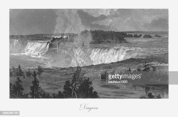 niagara falls, niagara falls, new york, niagara falls, ontario, american victorian engraving, 1872 - lake ontario stock illustrations, clip art, cartoons, & icons