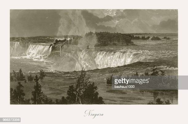 niagara falls, niagara falls, new york, niagara falls, ontario, american victorian engraving, 1872 - lake erie stock illustrations, clip art, cartoons, & icons