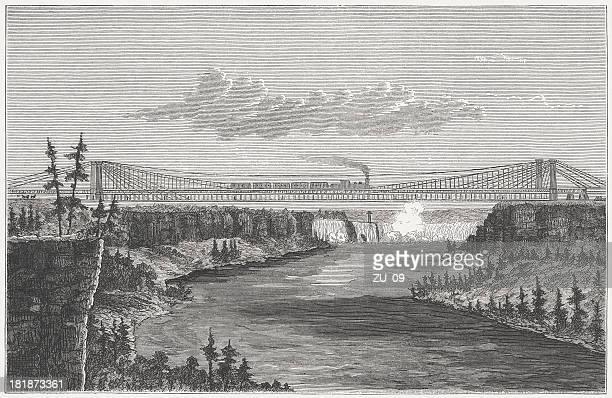 ilustraciones, imágenes clip art, dibujos animados e iconos de stock de puente colgante - puente colgante