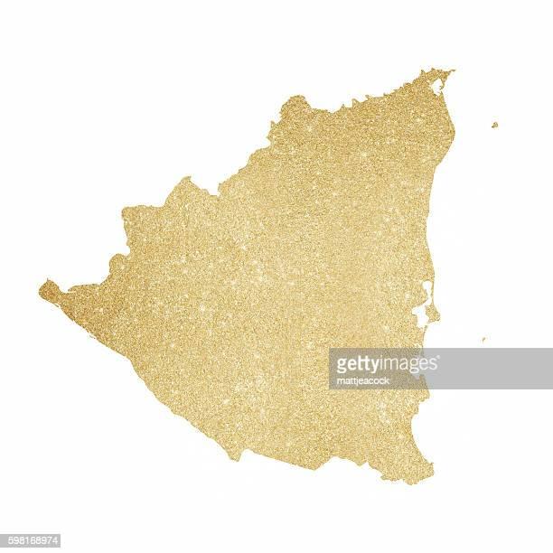 Nicaragua gold glitter map
