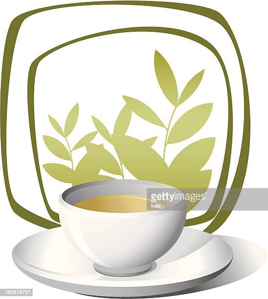 nice cup of tea - green tea stock illustrations, clip art, cartoons, & icons