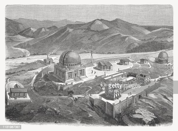 nice observatory, france, wood engraving, published in 1897 - nice france stock illustrations, clip art, cartoons, & icons