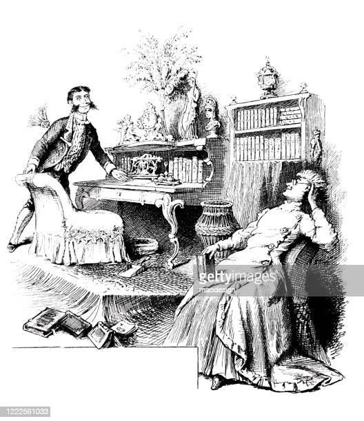 ilustrações de stock, clip art, desenhos animados e ícones de nice talking with the son in the guest room - homens de idade mediana