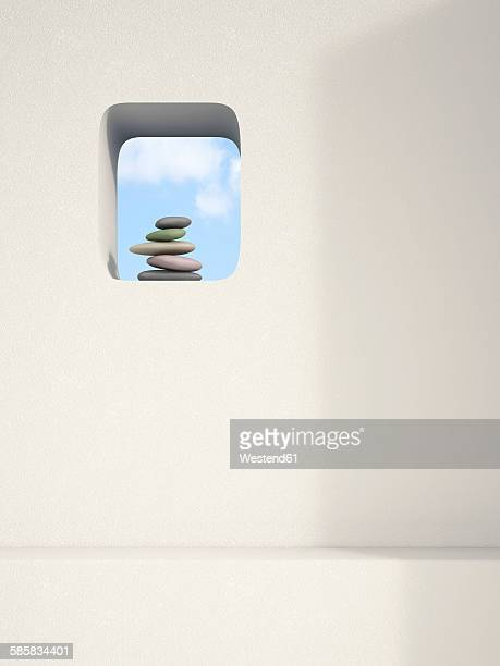 Niche in a wall with balanced stack of pebbles, 3D Rendering