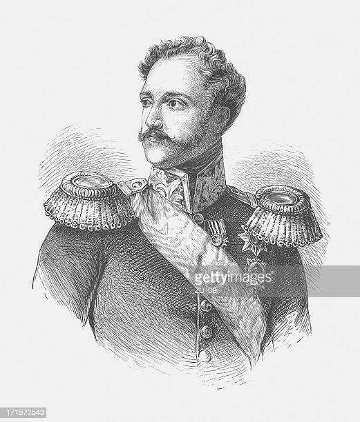 nicholas i (1796-1855), russian emperor, wood engraving, published in 1882 - military uniform stock illustrations