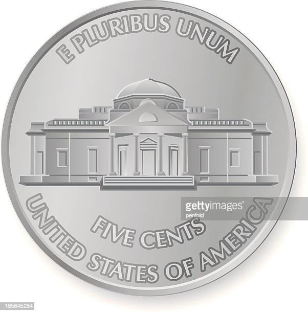 米国のニッケル下地メッキ - 5セントコイン点のイラスト素材/クリップアート素材/マンガ素材/アイコン素材