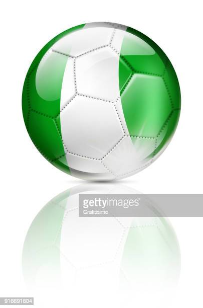 Nigeria soccer ball with nigerian flag isolated on white