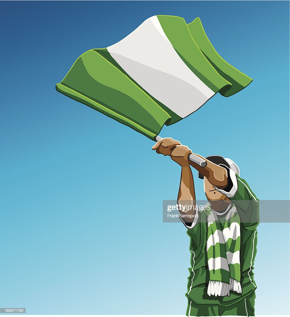 Nigeria Waving Flag Soccer Fan
