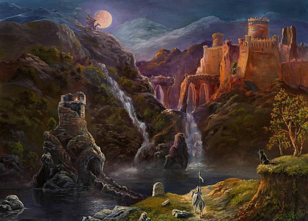 night in fairy kingdom - fantasy stock illustrations