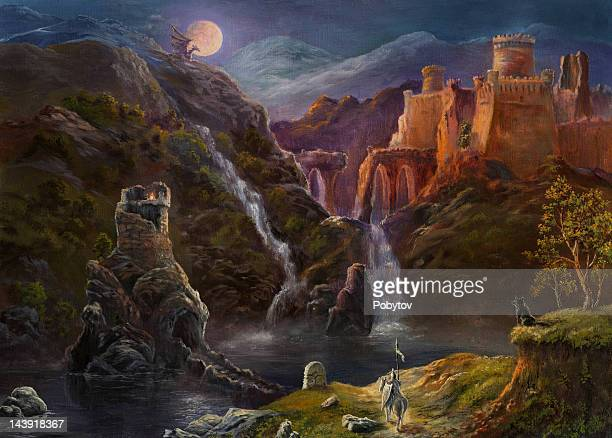 night in fairy kingdom - fantasy stock illustrations