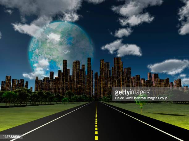 Night roadway to future city, Terraformed moon in the sky. 3D rendering