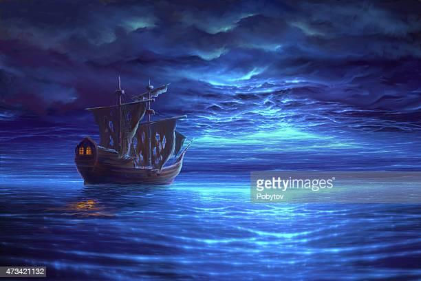 ilustrações, clipart, desenhos animados e ícones de após uma tempestade de mar de noite com barco a vela, pintura - tall ship