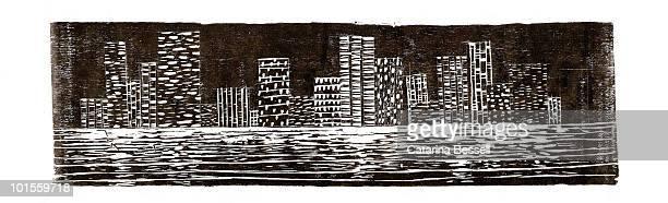 night skyline woodcut - 木版画点のイラスト素材/クリップアート素材/マンガ素材/アイコン素材