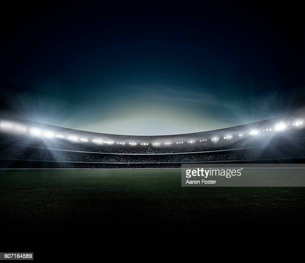 stockillustraties, clipart, cartoons en iconen met night stadium - stadion